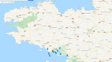 Bretagne mit der Côte des Megalithes ganz im Süden